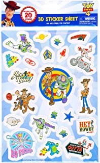 Disney Pixar Toy Story 4 Raised Sticker Sheet 3D Cartoon Character Collection Stationery Party Favor Creative Scrapbook Decor Arts & Crafts Activity Woody, Buzz Lightyear, Little Bo Peep (20+ Pcs)