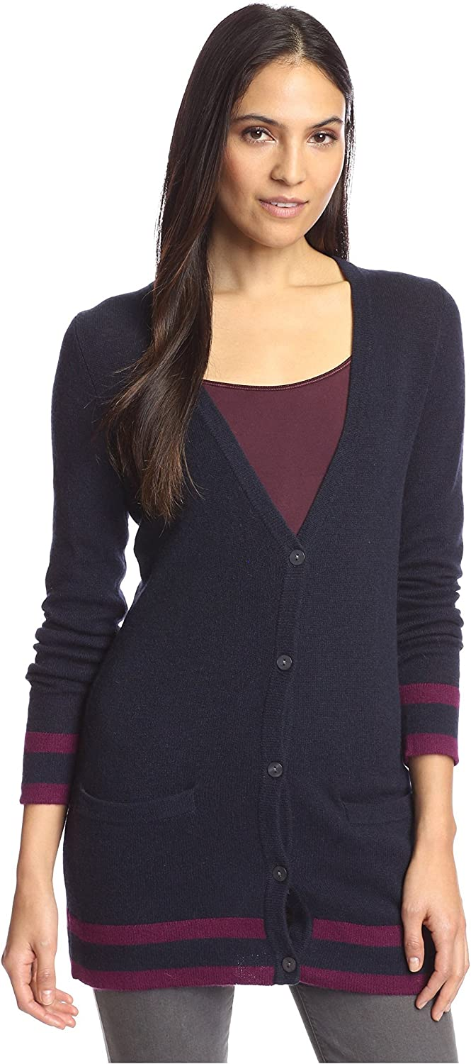 Cashmere Addiction womens not applicable Women's Tipped Cardigan Sweater