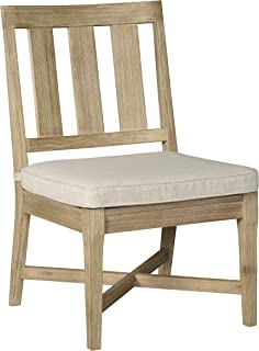 Ashley Furniture Signature Design - Clare View Outdoor Dining Side Chairs - Set of 2 - With Cushions - Eucalyptus Wood - Beige