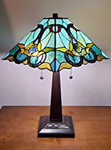 "Amora Lighting Tiffany Style Table Lamp Banker 20"" Tall Stained Glass White Green Red Brown Yellow Vintage Antique Light D..."
