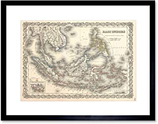 1855 Colton MAP The East Indies Singapore Thailand Borneo Framed Print B12X2181