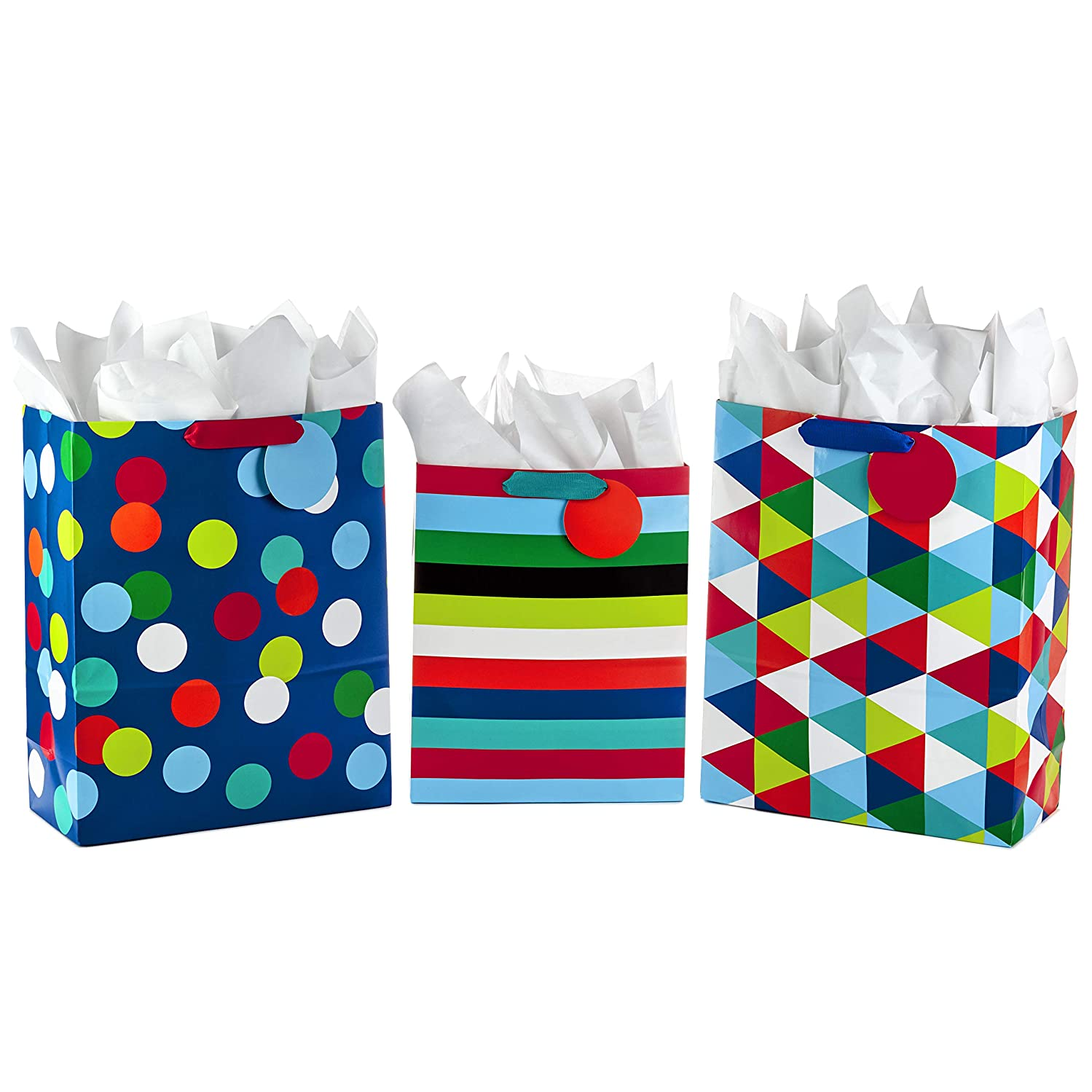 Hallmark Large and Extra Large Gift Bags Assortment with Tissue Paper for Birthdays, Father's Day, Graduations or Any Occasion (Pack of 3 - Celebrate)