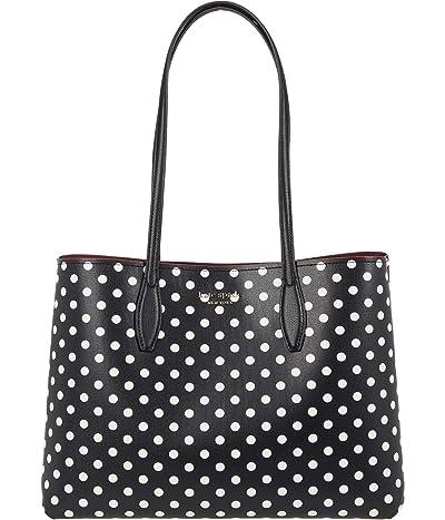 Kate Spade New York All Day Lady Dot Large Tote (Black Multi) Tote Handbags