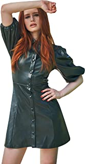SheIn Women's Fashion Puff Sleeve Button Front High Waist PU Mini Dress