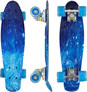 "Geelife 22"" Complete Mini Cruiser Skateboard for Beginners Youths Teens Girls Boys with LED Wheels"