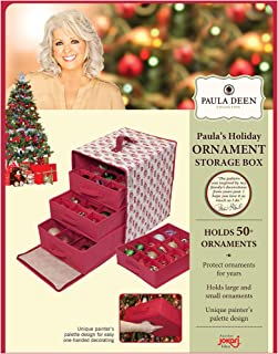 Paula Deen Ornament Storage Container & Closet Organizer - Perfect Holder for Christmas Tree or Holiday Decorations, Hard Cube, Chest, Box Design is Hard to Keep Safe Small, Big Glass or Ornaments