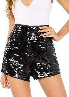 Women's High Waist Sequin Zip Up Glitter Clubwear Shorts