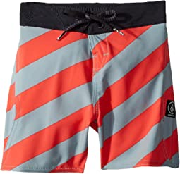 Stripey Elastic Boardshorts (Toddler/Little Kids)