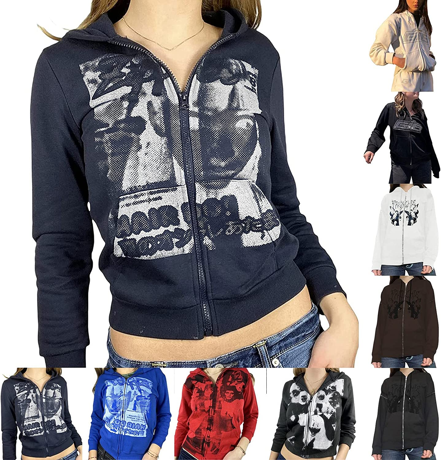 Womens Zipper Oversized Hoodies Solid Print Long Sleeve Hooded Sweatshirts with Pockets Autumn Winter Pullover Blouse