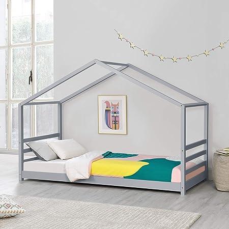 [en.casa] Lit d'enfant Design Maison Lit Cabane Pin Contreplaqué Solide Robuste 90 x 200 cm Gris Mat Laqué