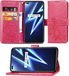 Cellphone case For OPPO Realme 6 Pro Four-leaf Clasp Embossed Buckle Mobile Phone Protection Leather Case with Lanyard & C...