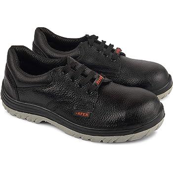 Aktion Safety Genuine Leather Shoes Safer-1210 Steel Toe - Size 7, Black
