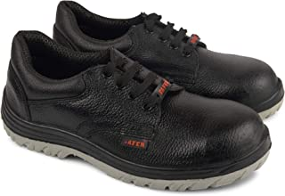 Aktion Safety Genuine Leather Shoes Safer-1210 Steel Toe - Size 9, Black