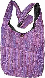 Lavender Embroidered Peace and Sunrise Sling Purse Handbag