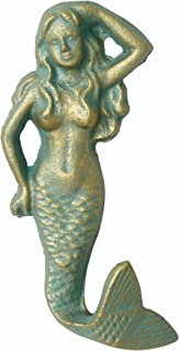 Stonebriar Patina Mermaid Antique Cast Iron Wall Hook Decorative Ocean Design, Green