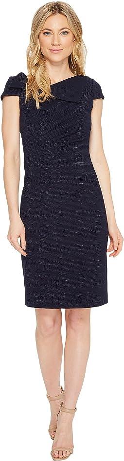 Fold-Over Neck Sheath Dress