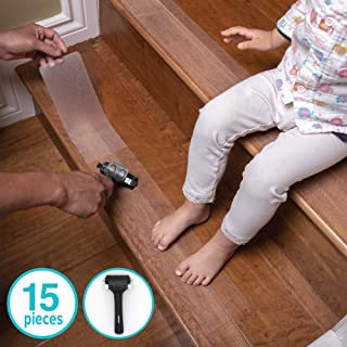 LifeGrip Anti Slip Fine Resilient Safety Stair Treads, Non-Slip Tape to Tubs, Pools, Boats, Stairs, Clear, Soft, Comfortable for Bare feet (4