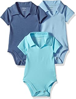 Hanes Ultimate Baby Flexy 3 Pack Short Sleeve Polo Bodysuits