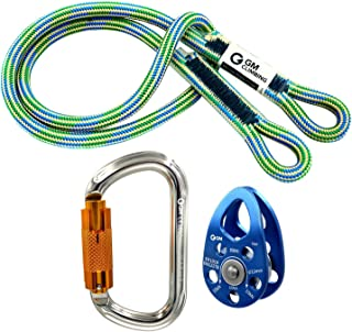 GM CLIMBING Hitch Slack Tending Pulley Kit for Double Rope Climbing System Basic Unit of General Hauling - Micro Pulley & Oval Locking Carainber & 30in 8mm VT Prusik