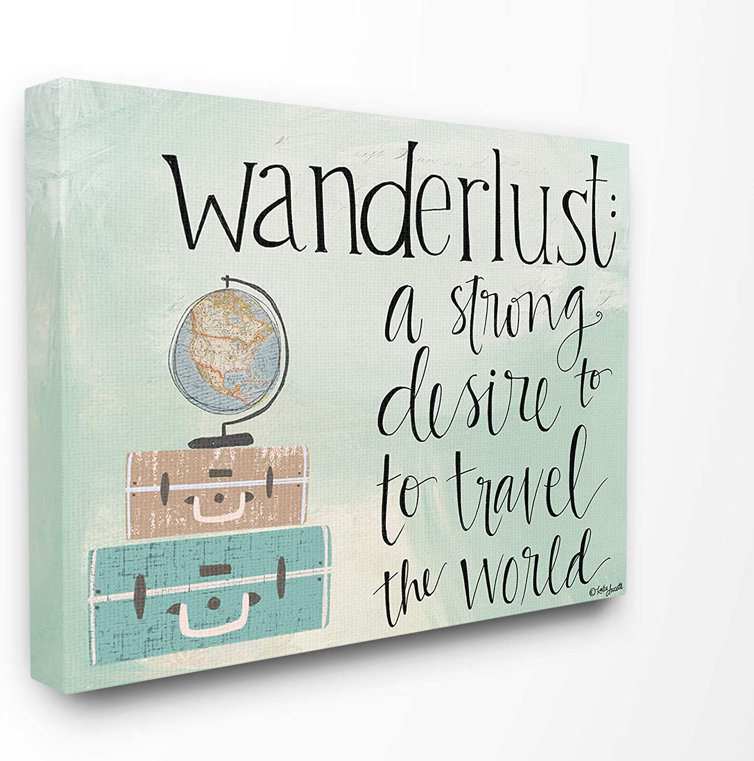 The Stupell Home Decor Aqua bluee Wanderlust Definition Suitcases and Globe Drawing Stretched Canvas Wall Art 11x14 Multi-color