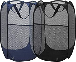 折り畳み式ランドリーバスケット メッシュポップアップ 汚れた衣類 家庭用 旅行用 子供玩具収納 約36X36X61cm ブルー×1個+ブラック×1個
