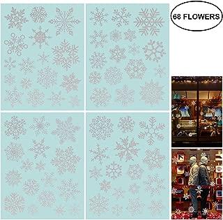 NICEXMAS 68 Glitter Snowflake Window Clings Christmas Window Decorations - Glueless PVC Stickers