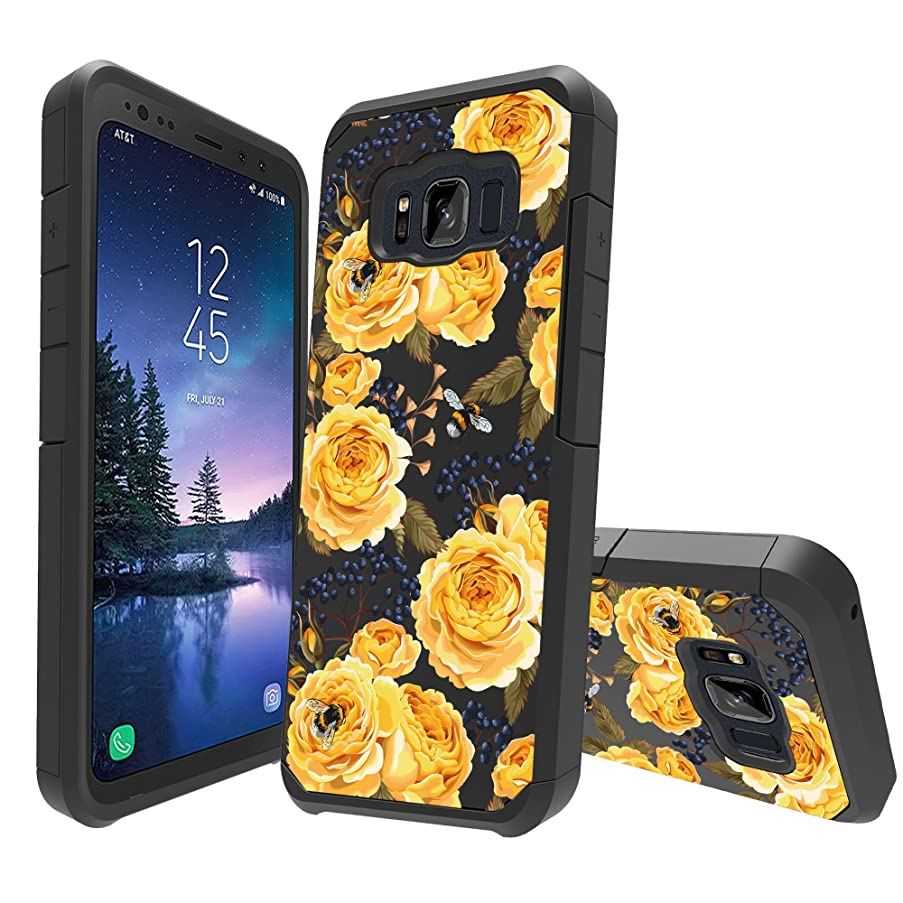 MINITURTLE Case Compatible with Samsung Galaxy S8 Active [Floral Print Series][Cute Hybrid Case for Girls][Floral Print][2-Part Silicone & Shell Case] - Bumble Bee Roses