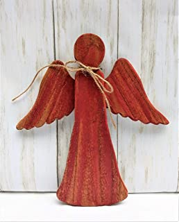 Angel Christmas Tree Topper Red Rustic Wood Christmas Ornament Cedar