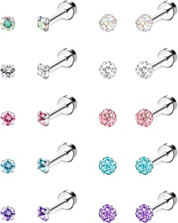 Jstyle 10Pairs 18G Ear Stud Earrings for Women Stainless Steel Cubic Zirconia Earrings Tragus Cartilage Piercing Barbell S...