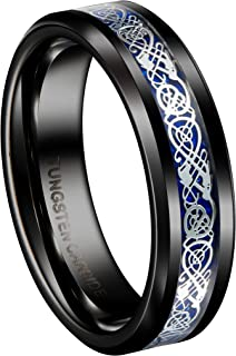 Queenwish 6mm Black Tungsten Carbide Ring Silvering Celtic Dragon Men's Women's Wedding Band Size 5-13