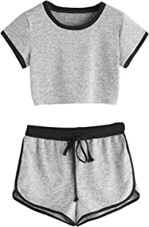 Women's Sports Gym Crop Top and Shorts Set 2 Piece Tracksuit