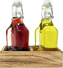 Oil and Vinegar Dispenser Set Cruet Bottle with Swing Top and Wood Tray for Salad Dressing, Condiments and Rustic Kitchen ...
