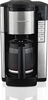 Hamilton Beach 46381 12-Cup Programmable Coffee Maker, Easy Access Plus, Brew Options, Cone Filter, Black and Stainless