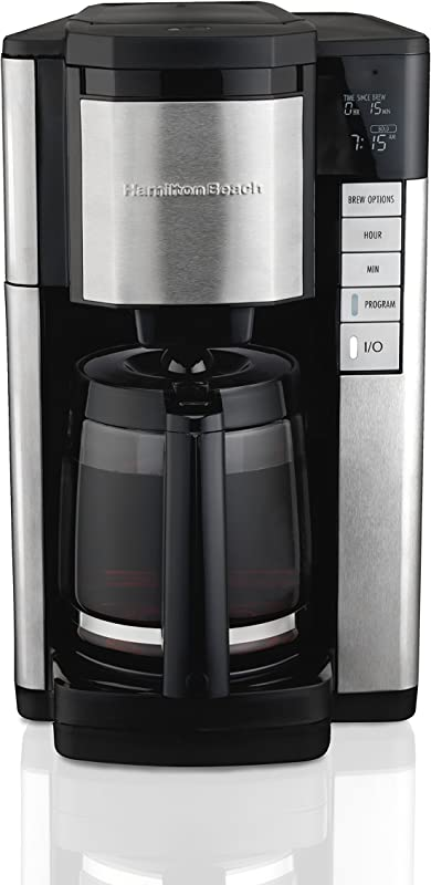 Hamilton Beach 46381 12 Cup Programmable Coffee Maker Easy Access Plus Brew Options Cone Filter Black And Stainless