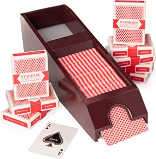 8-Deck Wooden Blackjack Shoe with Cards - Dark Brown Manual Playing Card Shuffler - Classic Chocolate Brown Wood Game Deal...