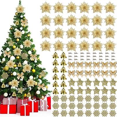 Fleurs de décoration d'arbre de Noël, JUSTDOLIFE Fleurs d'arbre de Noël 24 pièces de fleurs de Noël paillettes d'or avec 84 pièces ornement de Noël idéal pour Xmas Party Garden Decors