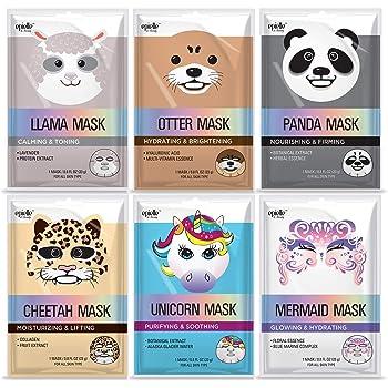 Epielle Character Sheet Masks | Llama, Mermaid, Panda, Cheetah, Unicorn, Otter | Korean Beauty Mask -For All Skin Types, (Pack of 6) | Holiday Gifts and Stocking Stuffers