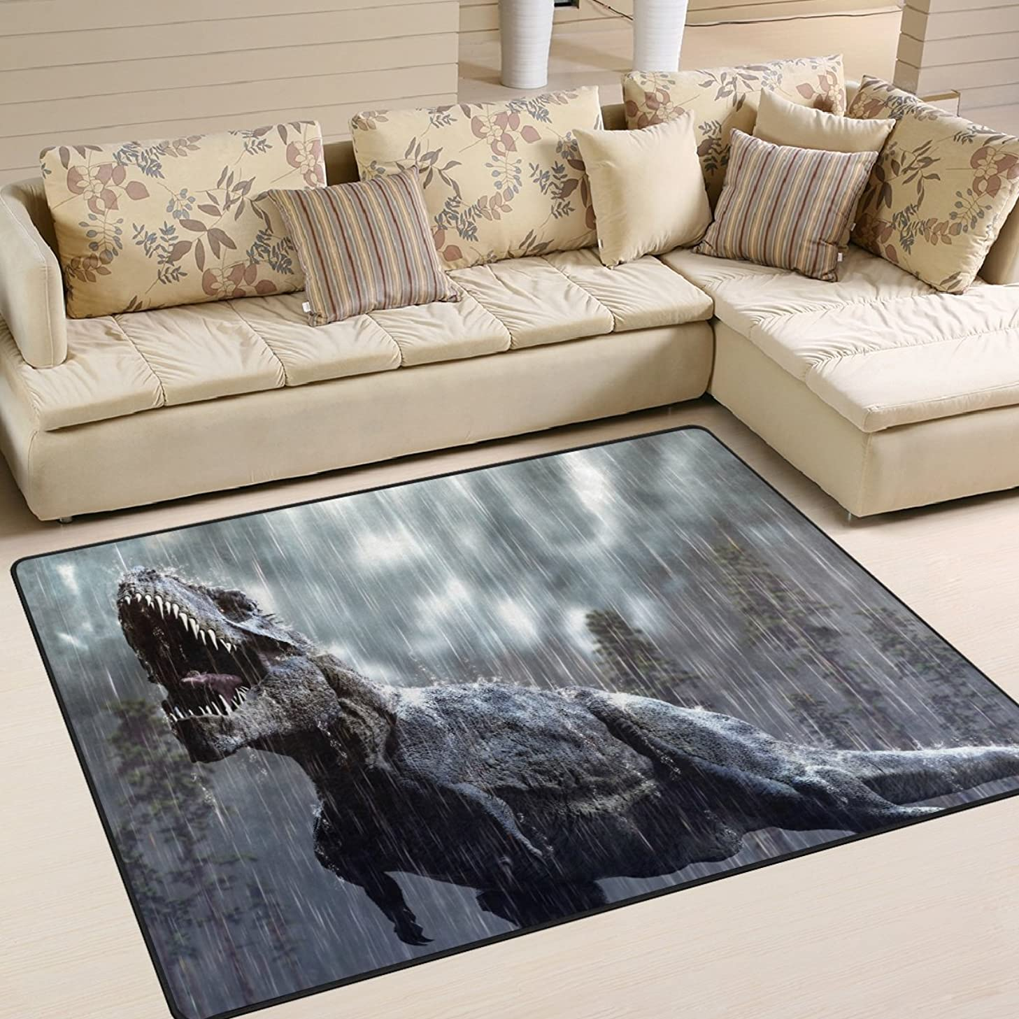 ALAZA Rainy Dinosaur Area Rug Rugs for Living Room Bedroom 7' x 5'