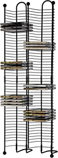 Atlantic Nestable 100 CD Tower - Holds 100 CDs, Efficient Space-Saving Design, Heavy Gauge Steel Construction, Gunmetal Finish with Cherry Wood Accents, PN63705079 (Renewed)