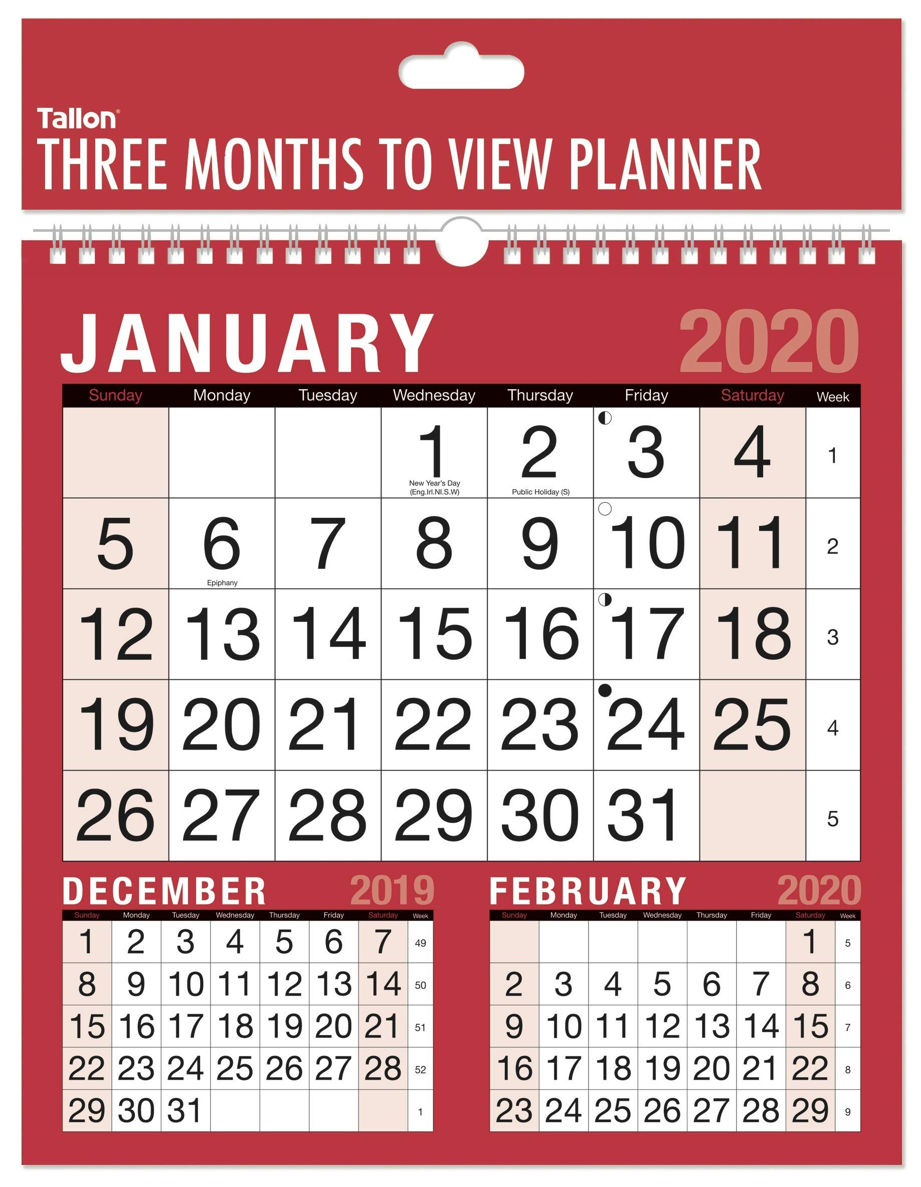 High Quality Paper with a Matte Finish 2020 Commercial Engagement Wall Calendar and Planner Month to View//Week to View A4 Large Print with 2 Columns
