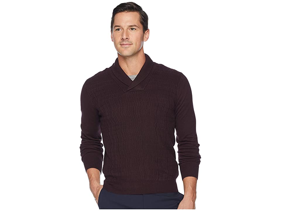 Perry Ellis Texture Pattern Shawl Pullover Sweater (Port) Men