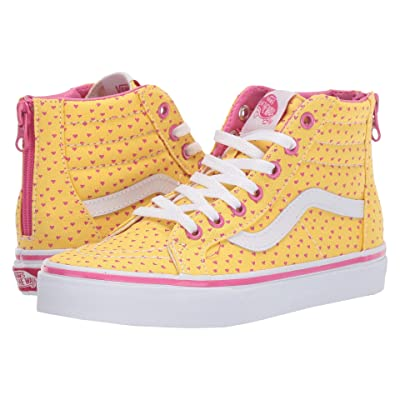 Vans Kids Sk8-Hi Zip (Little Kid/Big Kid) ((Hand Drawn Hearts) Aspen Gold/True White) Girls Shoes