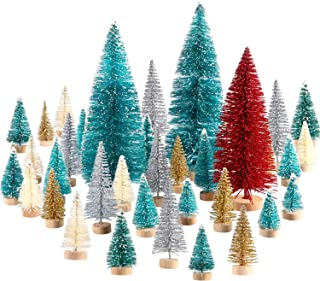 SATINIOR 60 Pieces Artificial Mini Christmas Tree Sisal Snow Trees Bottle Brush Christmas Trees Pine Trees Ornaments with Wooden Base for Christmas Party Home Decoration (6 Sizes, Multicolors)