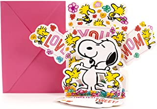 Hallmark Mother's Day Pop Up Card with Song from Son or Daughter (Peanuts Snoopy and Woodstock Pop Up, Plays Linus and Lucy by Vince Guaraldi)