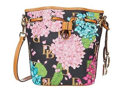 Dooney & Bourke Hydrangea Monogram Small Drawstring (Black) Handbags