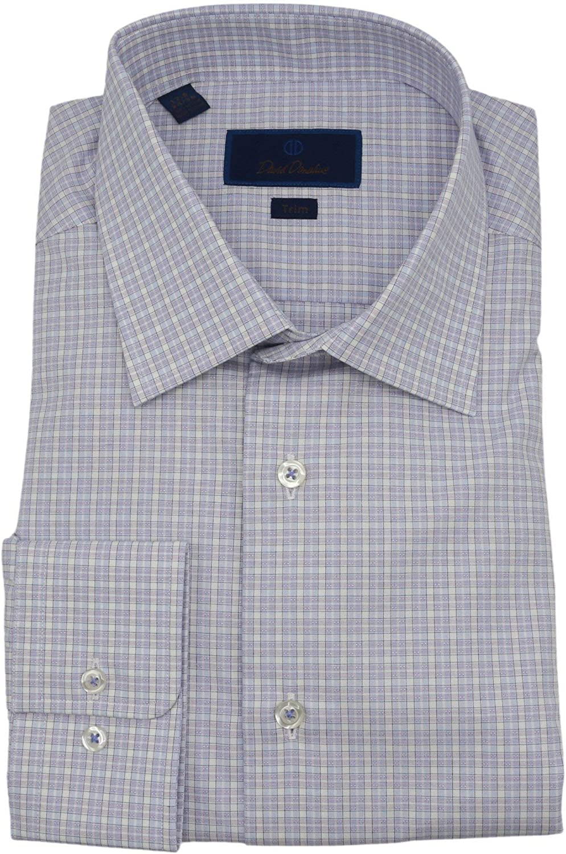 David Donahue Men's Trim Fit Tartan Dress Shirt