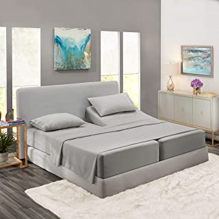 Nestl Bedding Soft Sheets Set - 5 Piece Bed Sheet Set, 3-Line Design Pillowcases - Easy Care, Wrinkle Free - 2 Fit Deep Pocket Fitted Sheets - Free Warranty Included - Split King, Silver