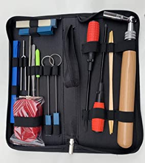 Ecloud Shop Piano Tuning Kit 16pcs Tuning Tool Set Professional Tuning Wrench Hammer Mute Tweezers Fork Screwdriver Belt C...