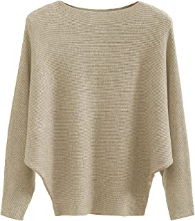 Boat Neck Batwing Sleeves Dolman Knitted Sweaters and...