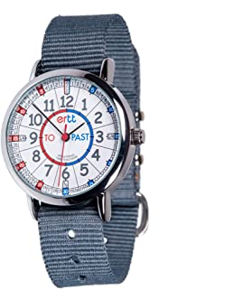 EasyRead Time Teacher Children's Watch, Red Blue Past & to Face, Grey Strap
